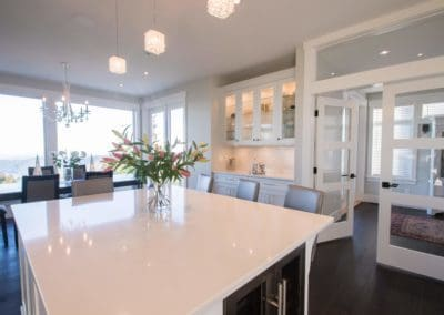Breakfast area and island in kitchen of beautiful home