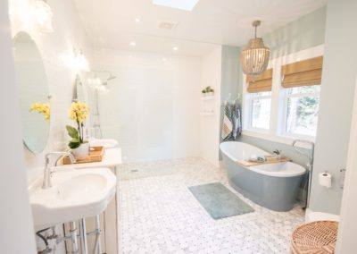 ensuite bathroom with tile tub in Maple Bay