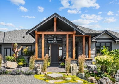 Goldstream Heights Custom Home timber framed front entryway