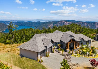 goldstream heights Custom home exterior with view of Cowichan Valley