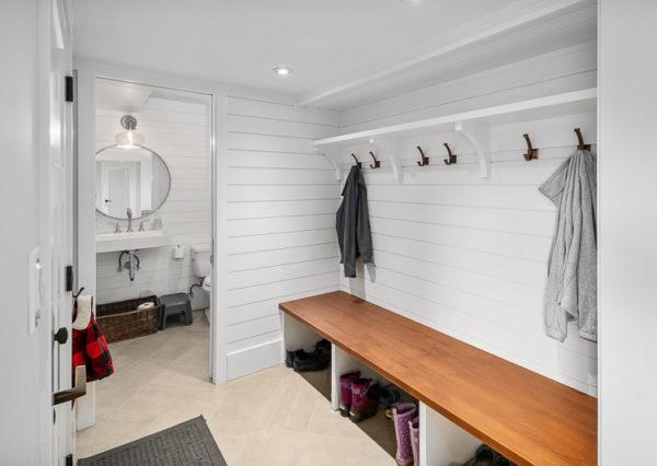 Shiplap mudroom and bath