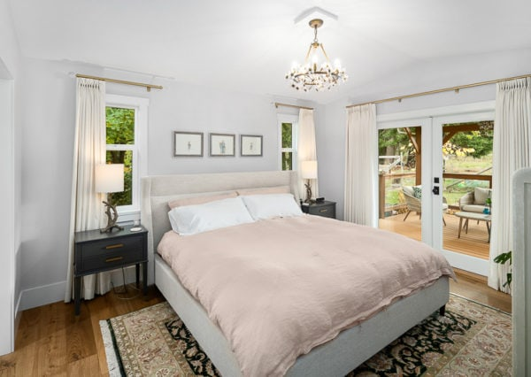 Master bedroom modern farmhouse style upholstered bed